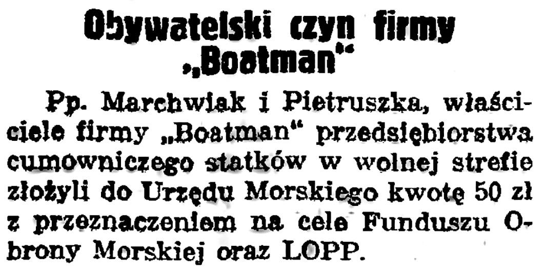 "Obywatelski czyn firmy ""Boatman"""