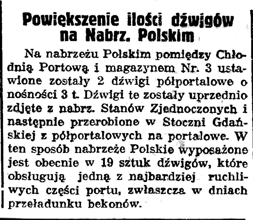 Powiększenie ilości dźwigów na Nabrz. Polskim