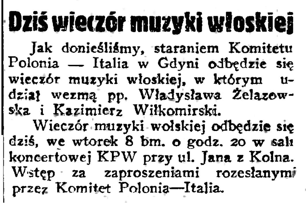 Dziś wieczór muzyki włoskiej // Gazeta Gdańska. - 1938, nr 25,