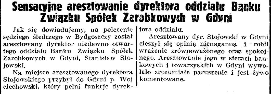 Sensacyjne aresztowanie dyrektoraa oddziału Banku Związku Spółek Zarobkowych w Gdyni