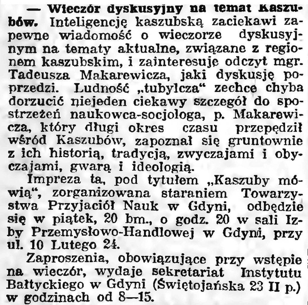 Wieczór dyskusyjny na temat Kaszubów // Gazeta Gdańska. - 1939, nr 10, s. 7