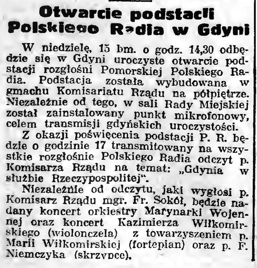 Otwarcie podstacji Polskiego Radia w Gdyni // Gazeta Gdańska. - 1939, nr 10, s. 7