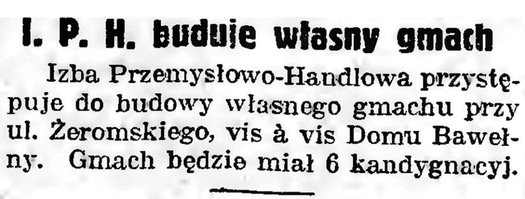 I. P. H. buduje własny gmach // Gazeta Gdańska. - 1939, nr 10, s. 7