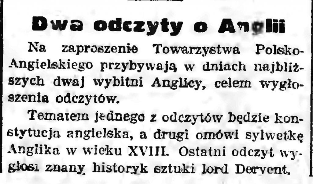 Dwa odczyty o Angljii // Gazeta Gdańska. - 1939, nr 10, s. 7
