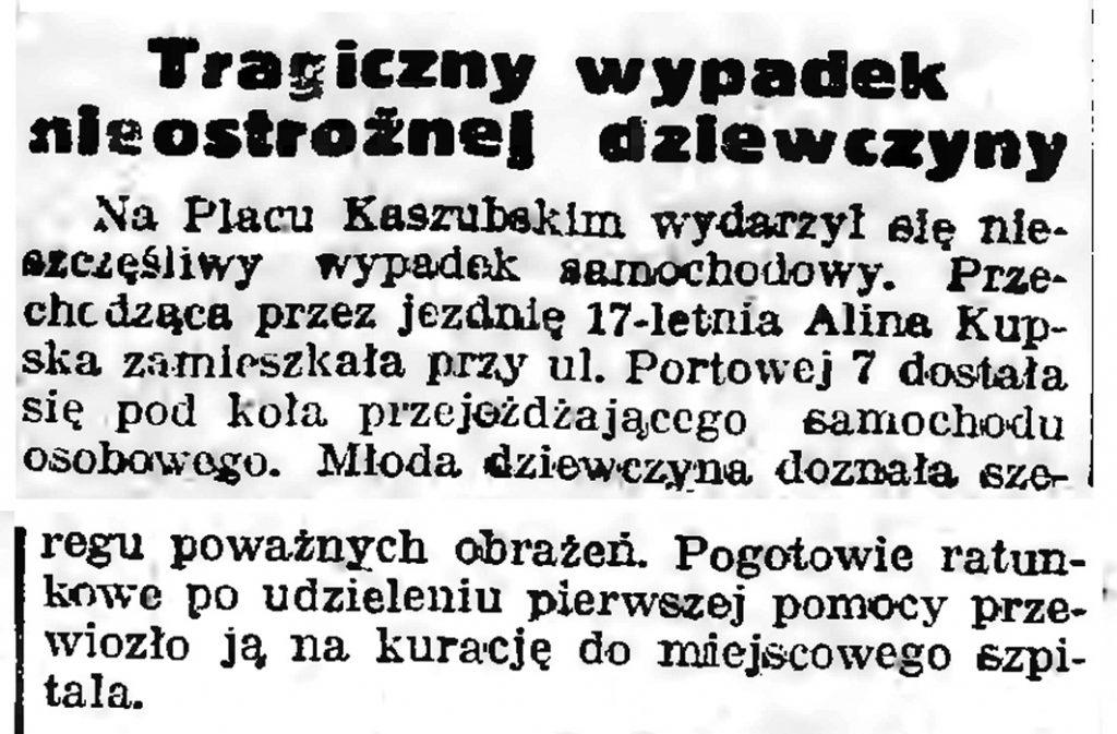 Tragiczny wypadek nieostrożnej dziewczyny // Gazeta Gdańska. - 1939, nr 10, s. 7