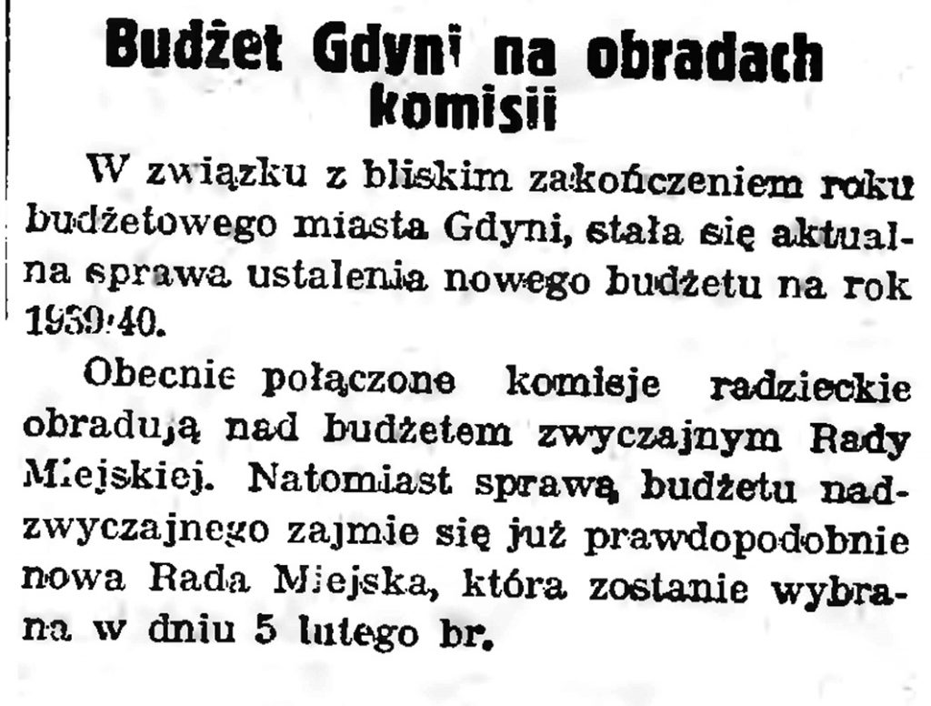 Budżet Gdyni na obradach komisji // Gazeta Gdańska. - 1939, nr 10, s. 7
