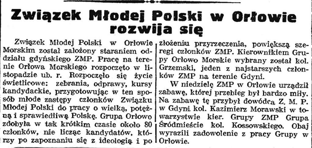 Związek Młodej Polski w Orłowie rozwija się // Gazeta Gdańska. - 1939, nr 10, s. 7
