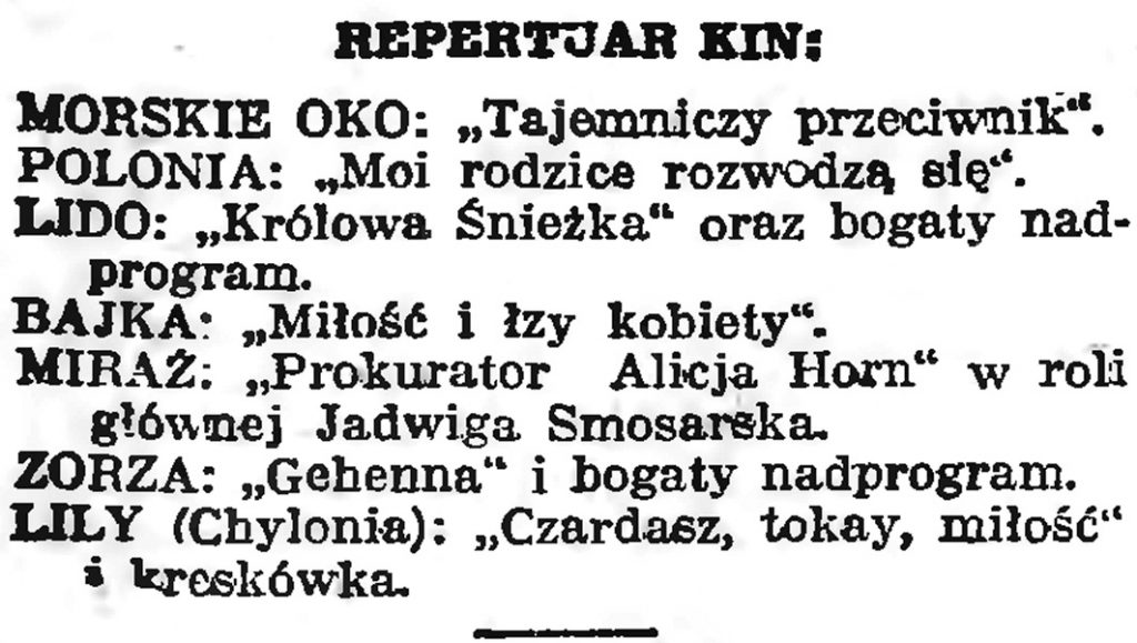 Repertuar kin // Gazeta Gdańska. - 1939, nr 10, s. 7