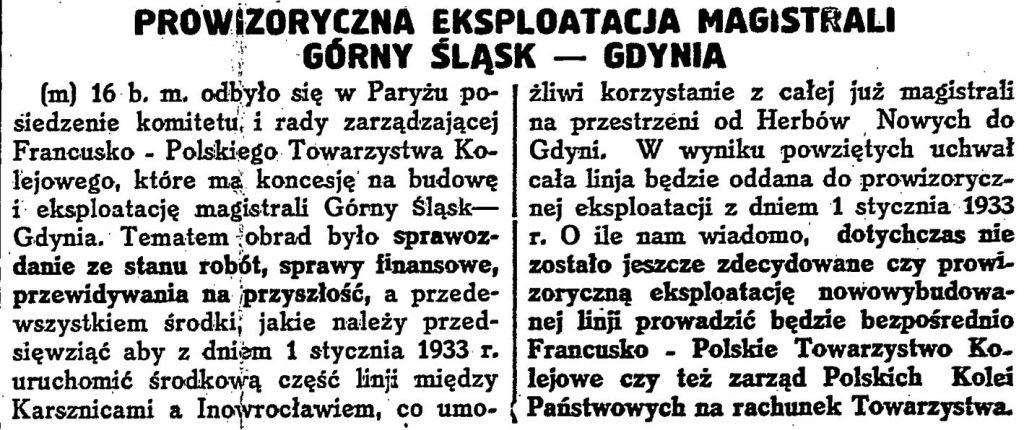Prowizoryczna eksploatacja magistrali Górny Śląsk - Gdynia / (m) // Codzienna Gazeta Handlowa. - 1932, nr 240, s. 1