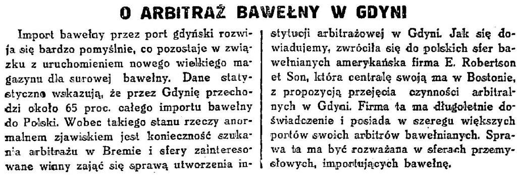 O arbitraż bawełny w Gdyni // Codzienna Gazeta Handlowa. - 1932, nr 240, s. 4