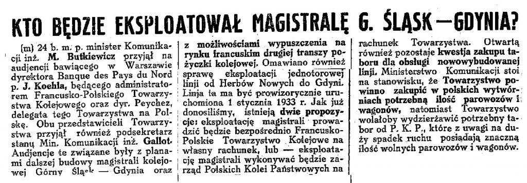 Kto będzie eksploatował magistralę G. Śląsk - Gdynia? / (m) // Codzienna Gazeta Handlowa. - 1932, nr 245, s. 2
