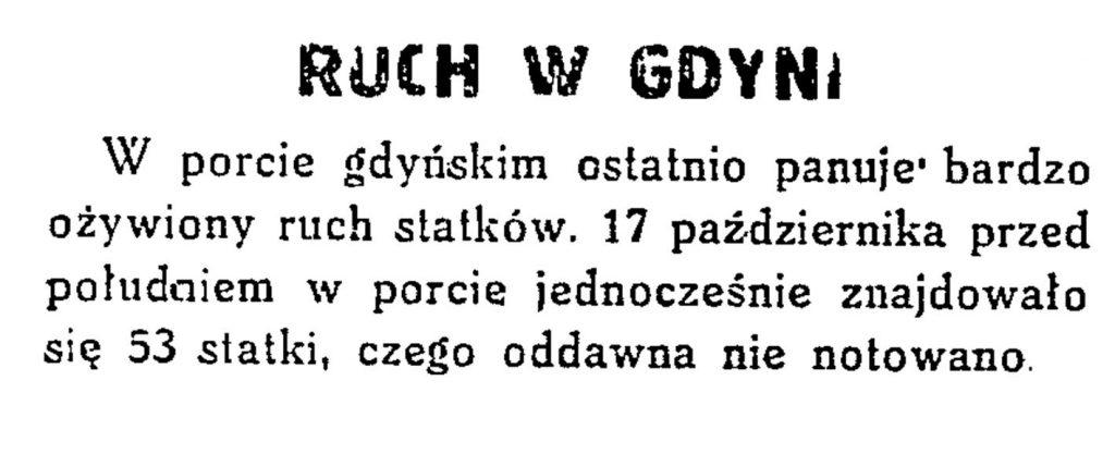 Ruch w Gdyni // Codzienna Gazeta Handlowa. - 1932, nr 248, s. 2