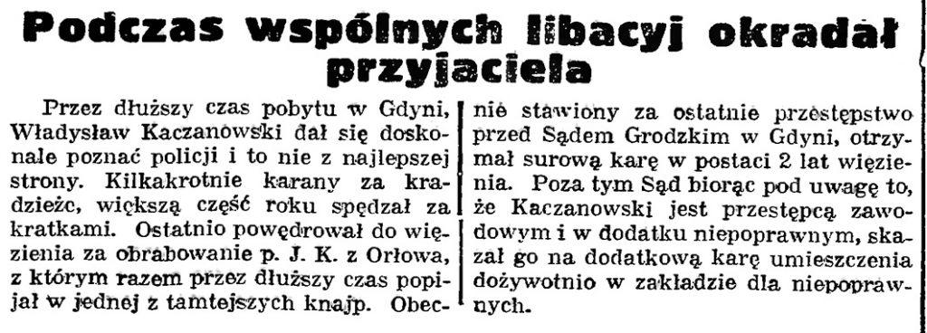 Podczas wspólnych libacyj okradał przyjaciela // Gazeta Gdańska. - 1939, nr 16, s. 7