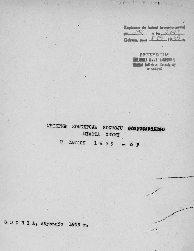 Wstępna koncepcja rozwoju gospodarczego Gdyni 1959-1965