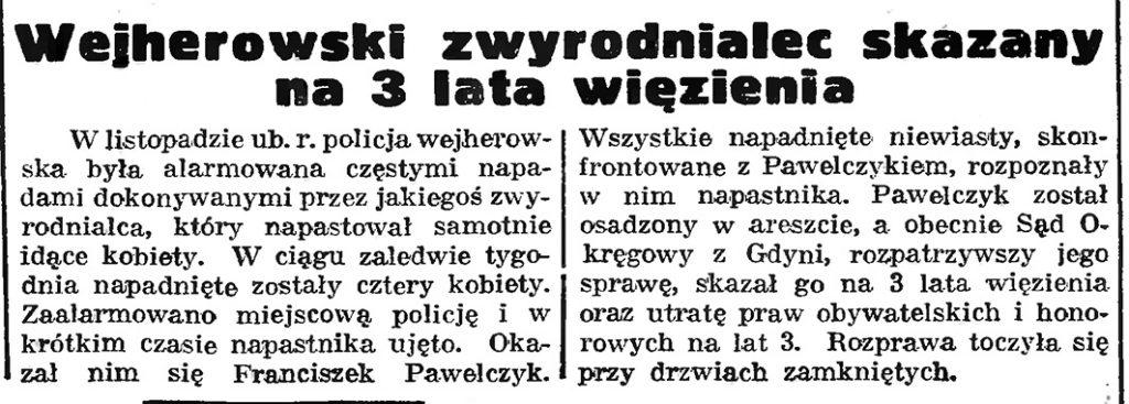 Wejherowski zwyrodnialec skazany na 3 lata więzienia // Gazeta Gdańska. - 1939, nr 11, s. 7