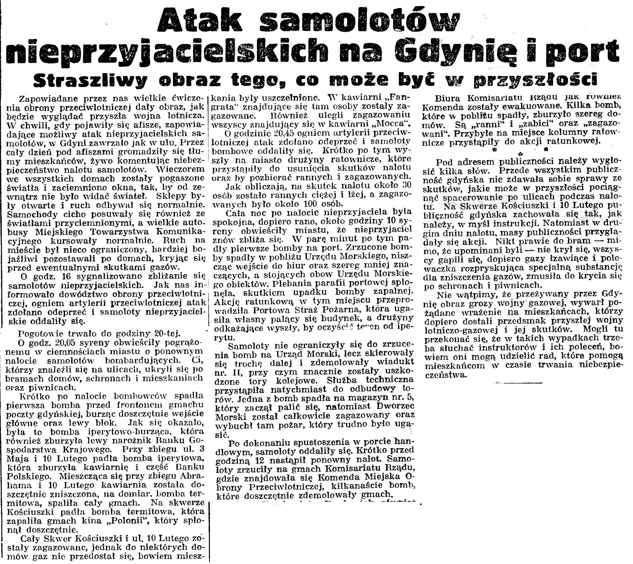 Atak samolotów nieprzyjacielskich na Gdynię i port. Straszliwy obraz tego, co może być w przyszłości // Gazeta Gdańska. - 19239, nr 12, s. 12