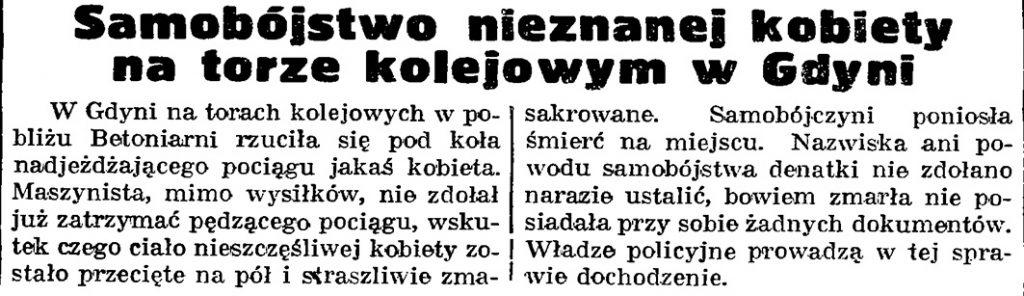 Samobójstwo nieznanej kobiety na torze kolejowym w Gdyni // Gazeta Gdańska. - 1939, nr 13, s. 6