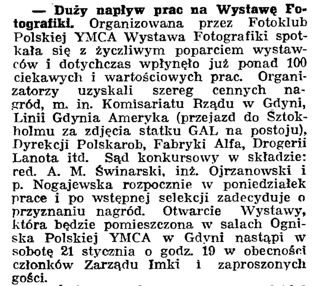 Duży napływ prac na Wystawę Fotografiki // Gazeta Gdańska. - 1939, nr 6, s. 8
