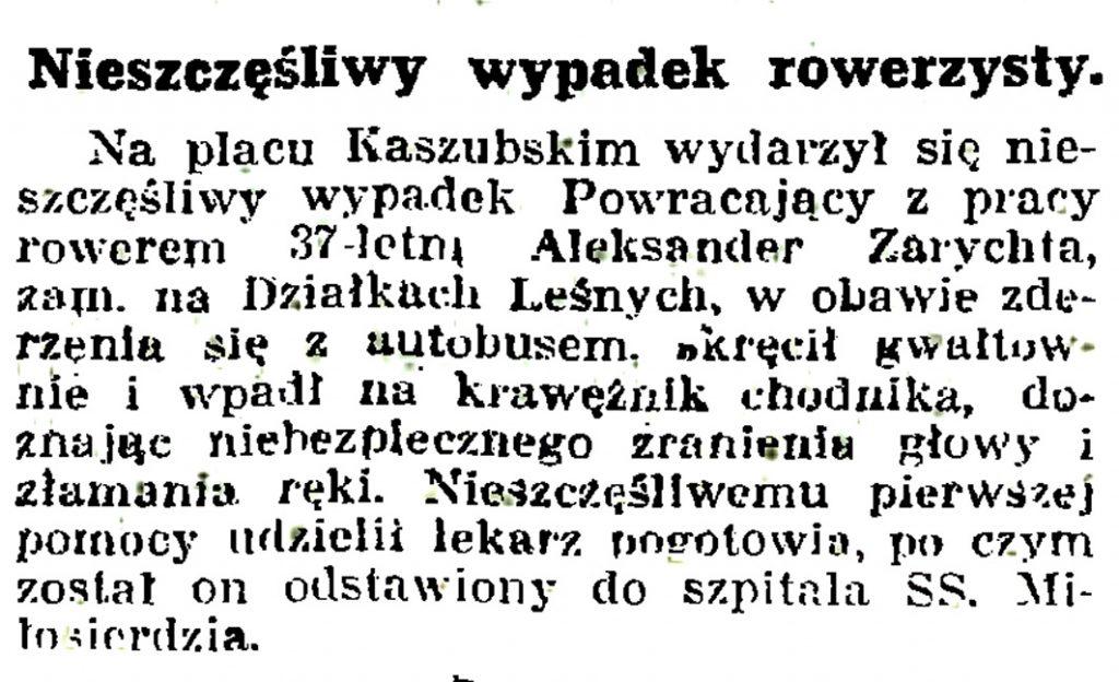 Nieszczęśliwy wypadek rowerzysty // Gazeta Gdańska. - 1939, nr 14, s. 7