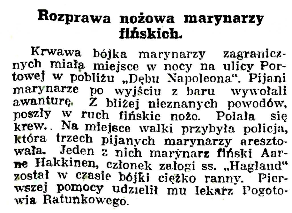 Rozprawa nożowa marynarzy fińskich // Gazeta Gdańska. - 1939, nr 14, s. 7