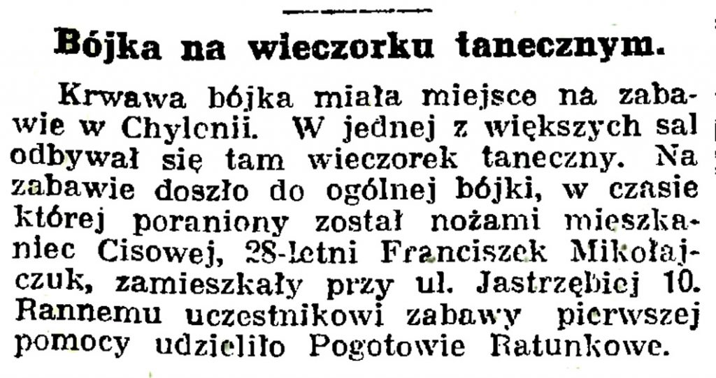 Bójka na wieczorku tanecznym // Gazeta Gdańska. - 1939, nr 14, s. 7