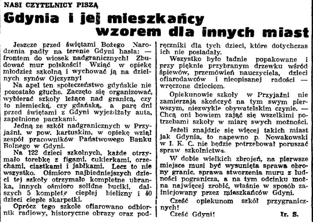Gdynia i jej mieszkańcy wzorem dla innych miast / Ir. S. // Gazeta Gdańska.- 1939, nr 14, s. 7