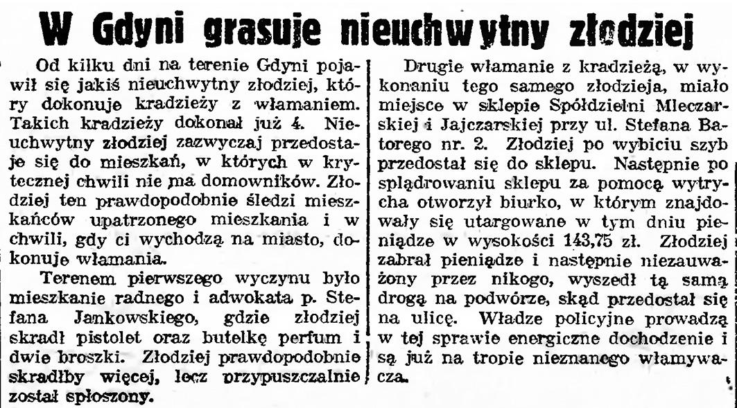 W Gdyni grasuje nieuchwytny złodziej // Gazeta Gdańska. - 1939, nr 15, s. 7