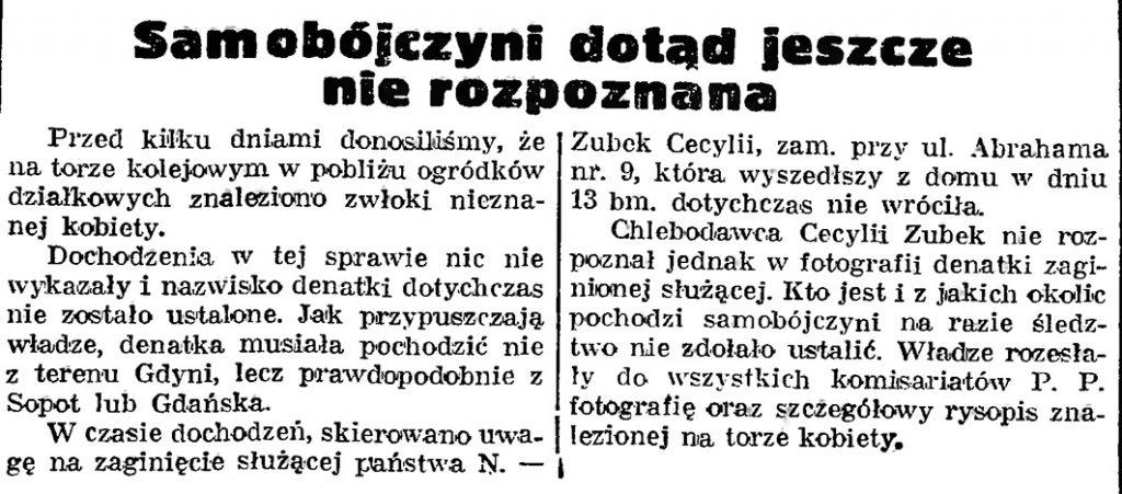 Samobójczyni dotąd jeszcze nie rozpoznana // Gazeta Gdańska. - 1939, nr 16, s. 7
