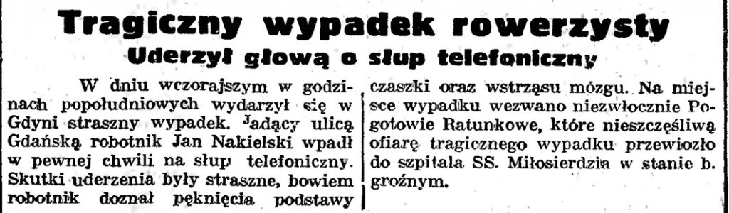 Tragiczny wypadek rowerzysty. Uderzył głową w słup telefoniczny // Gazeta Gdańska. - 1939, nr 17, s. 5