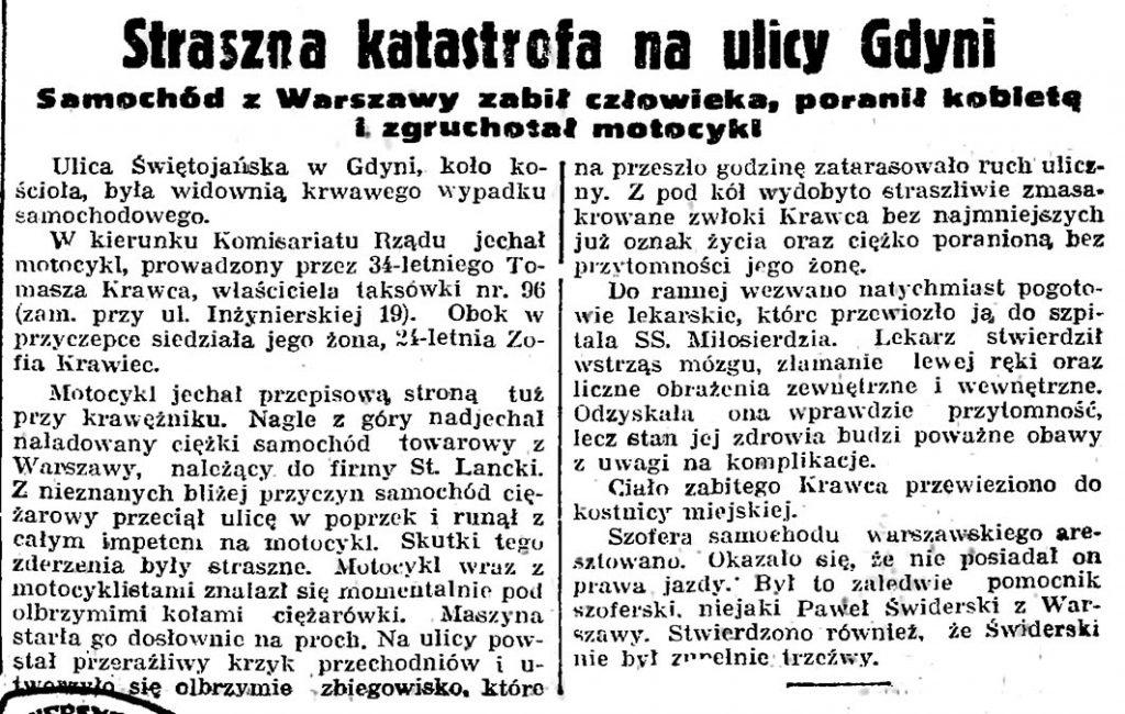 Straszna katastrofa na ulicy Gdyni. Samochód z Warszawy zabił człowieka, poranił kobietę i zgruchotał motocykl // Gazeta Gdańska. - 1939, nr 250, s. 1
