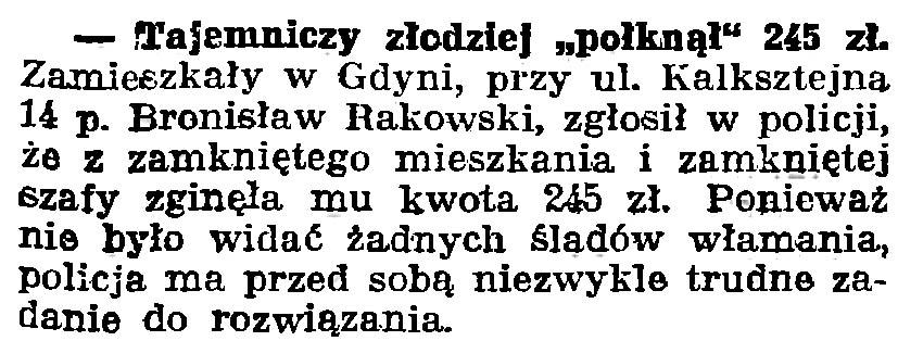 """Tajemniczy złodziej """"połknął"""" 245 zł // Gazeta Gdańska. - 1939, nr 252, s. 7"""