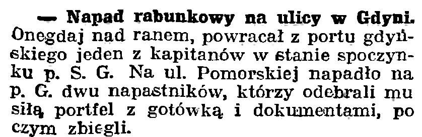 Napad rabunkowy na ulicy w Gdyni // Gazeta Gdańska. - 1939, nr 252, s. 7