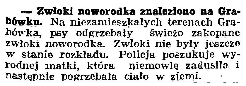 Zwłoki noworodka znalezione na Grabówku // Gazeta Gdańska. - 1939, nr 252, s. 7