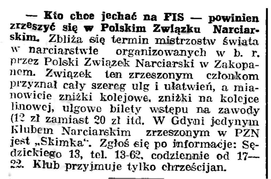 Kto chce jechać na FIS - powinien zrzeszyć się w Polskim Związku Narciarskim // Gazeta Gdańska. - 1939, nr 3, s. 7