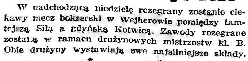 [W nadchodzącą niedzielę rozegrany zostanie ciekawy mecz bokserski] // Gazeta Gdańska. - 1939, nr 3, s. 7