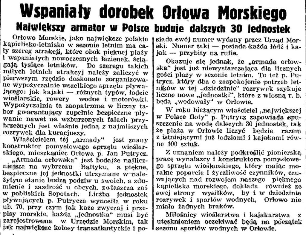 Wspaniały dorobek Orłowa Morskiego. Największy armator w Polsce buduje dalszych 30 jednostek // Gazeta Gdańska. - 1939, nr 3, s. 7