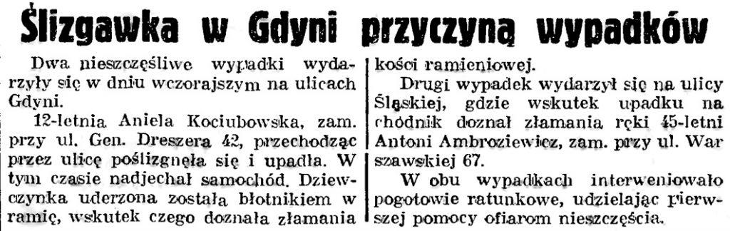 Ślizgawka w Gdyni przyczyną wypadków // Gazeta Gdańska. - 1939, nr 3, s. 7