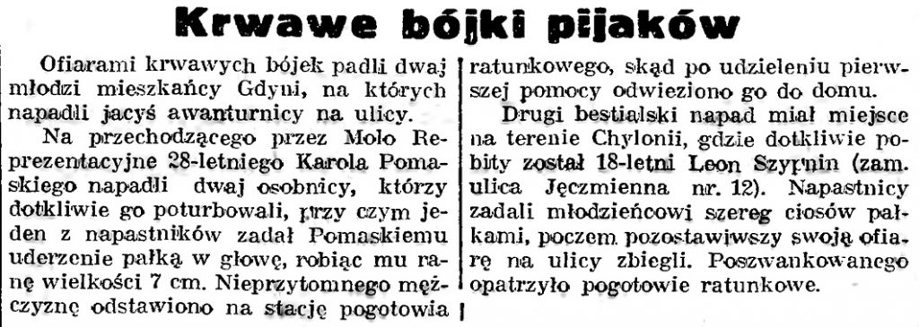 Krwawe bójki pijaków // Gazeta Gdańska. - 1939, nr 3, s. 7