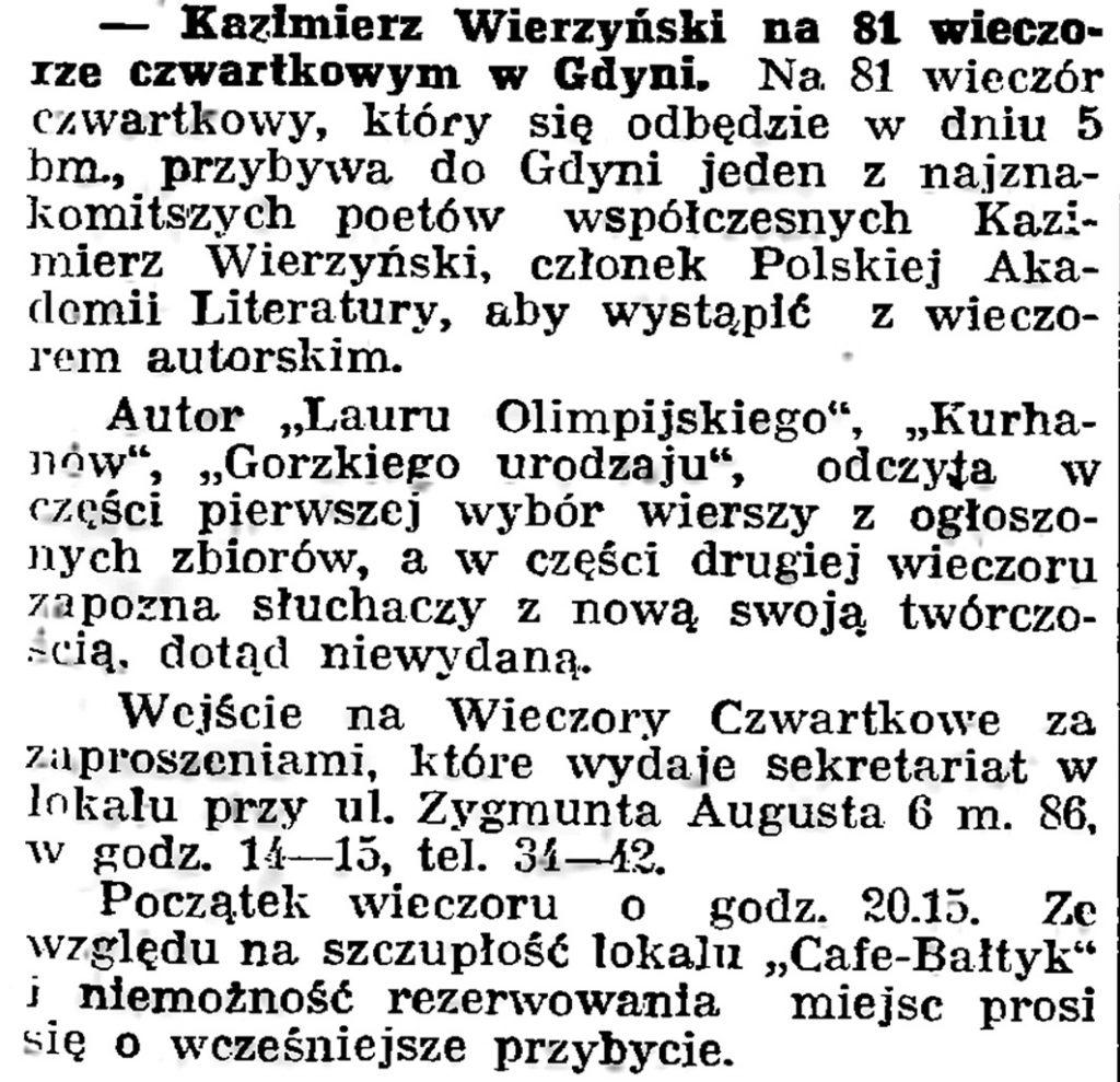 Kazimierz Wierzyński na 81 wieczorze czwartkowym w Gdyni // Gazeta Gdyńska. - 1939, nr 3, s. 7