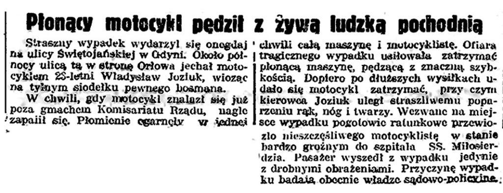 Płonący motocykl pędził z żywą ludzka pochodnią // Gazeta Gdańska. - 1939, nr 3, s. 7
