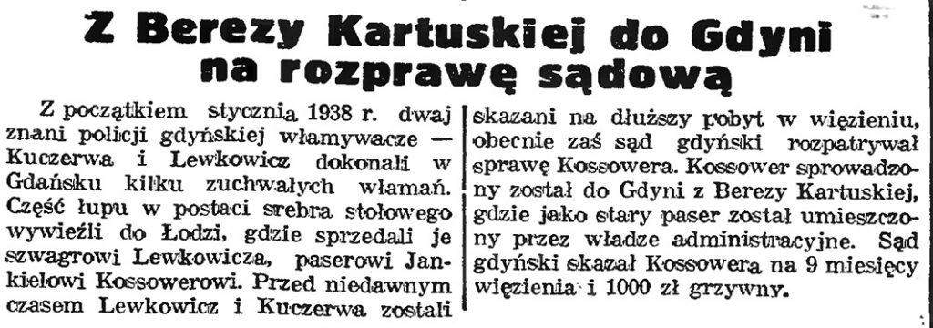 Z Berezy Kartuskiej do Gdyni na rozprawę sądową // Gazeta Gdańska. - 1939, nr 4, s. 7