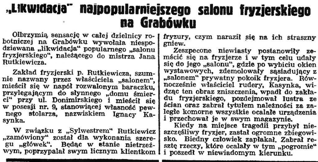 """""""Likwidacja"""" najpopularniejszego salonu fryzjerskiego na Grabówku // Gazeta Gdyńska. - 1939, nr 4, s. 7"""