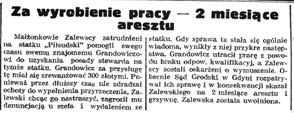 Za wyrobienie pracy - 2 miesiące aresztu // Gazeta Gdańska. - 1939, nr 4, s. 7
