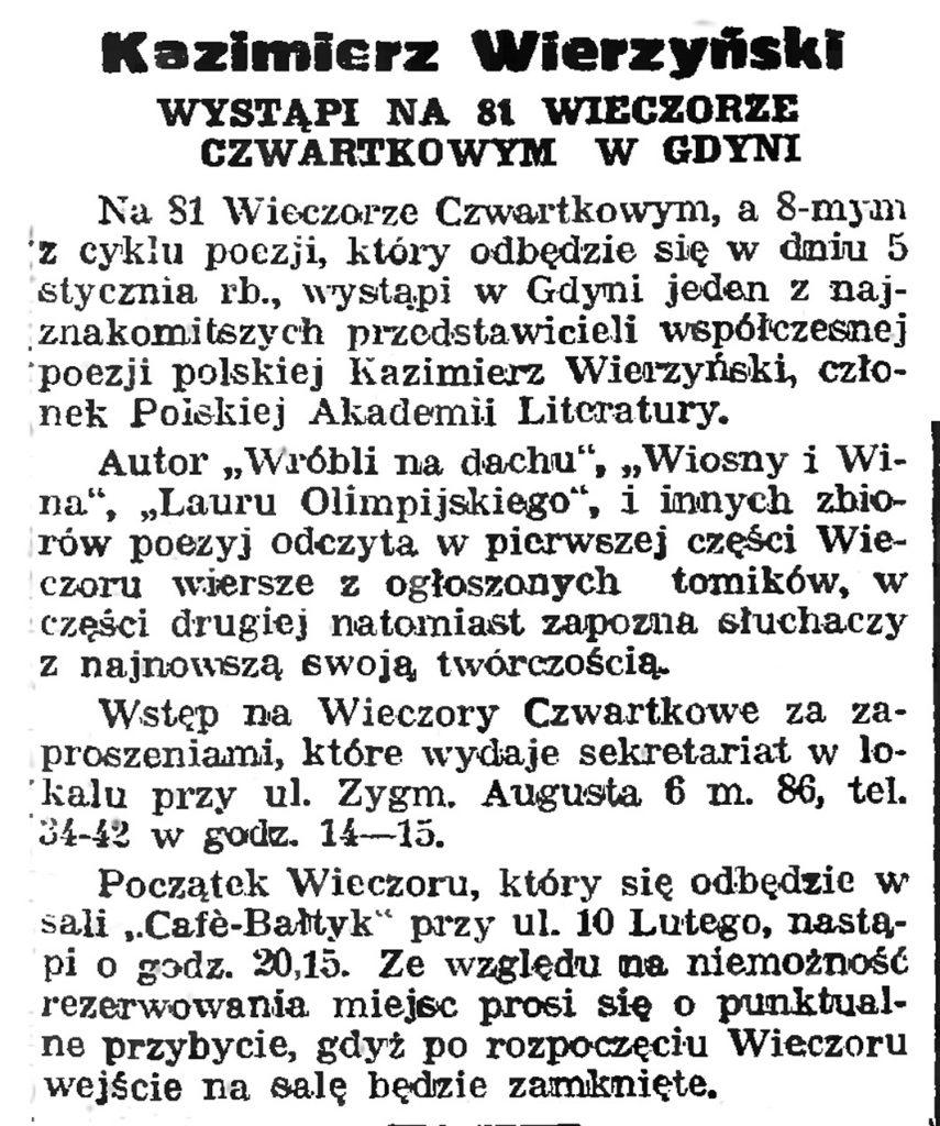 Kazimierz Wierzyński wystąpi na Wieczorze Czwartkowym w Gdyni // Gazeta Gdyńska. - 1939, nr 4, s. 7