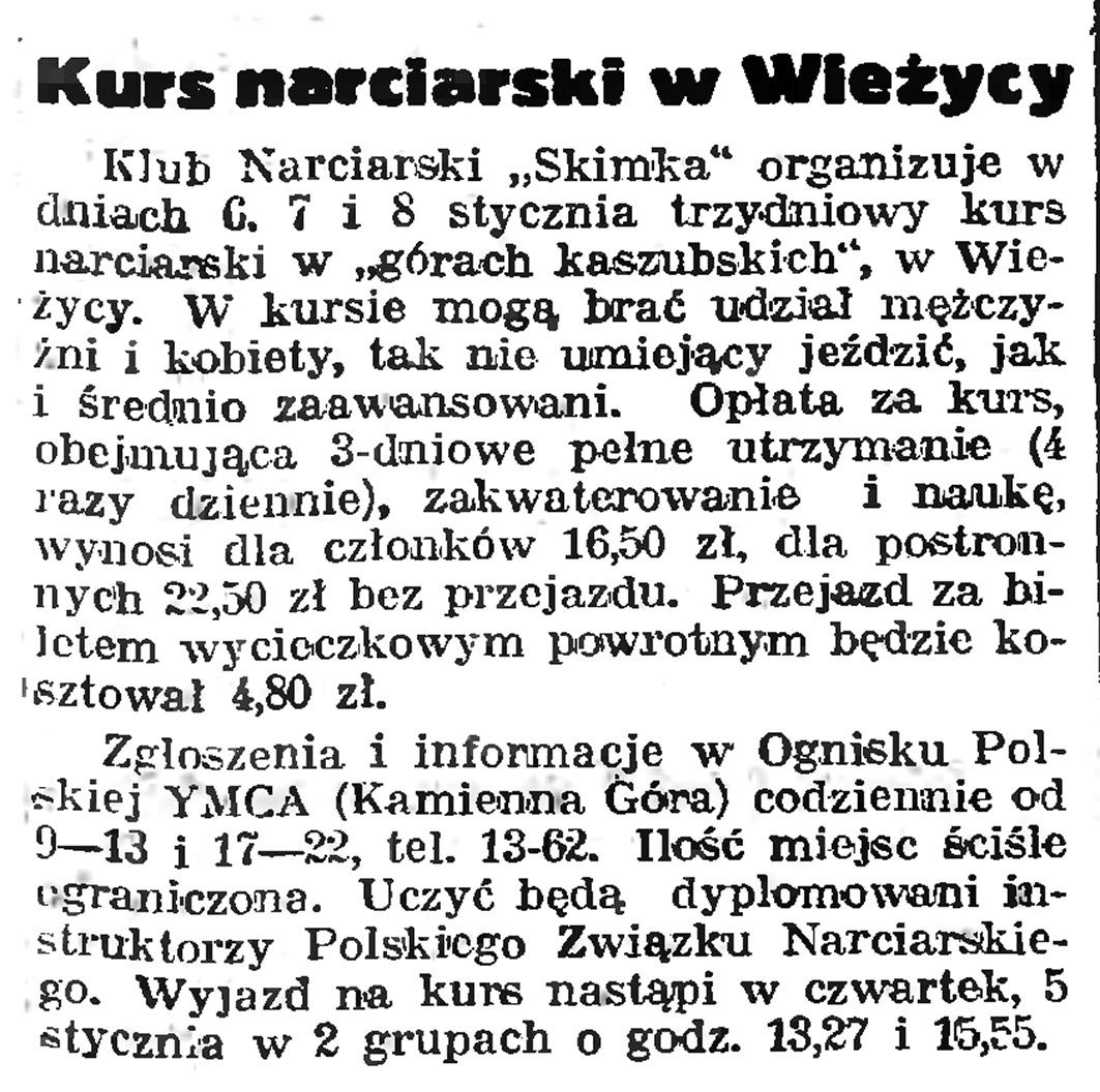 Kurs narciarski w Wieżycy // Gazeta Gdańska. - 1939, nr 4, s. 7