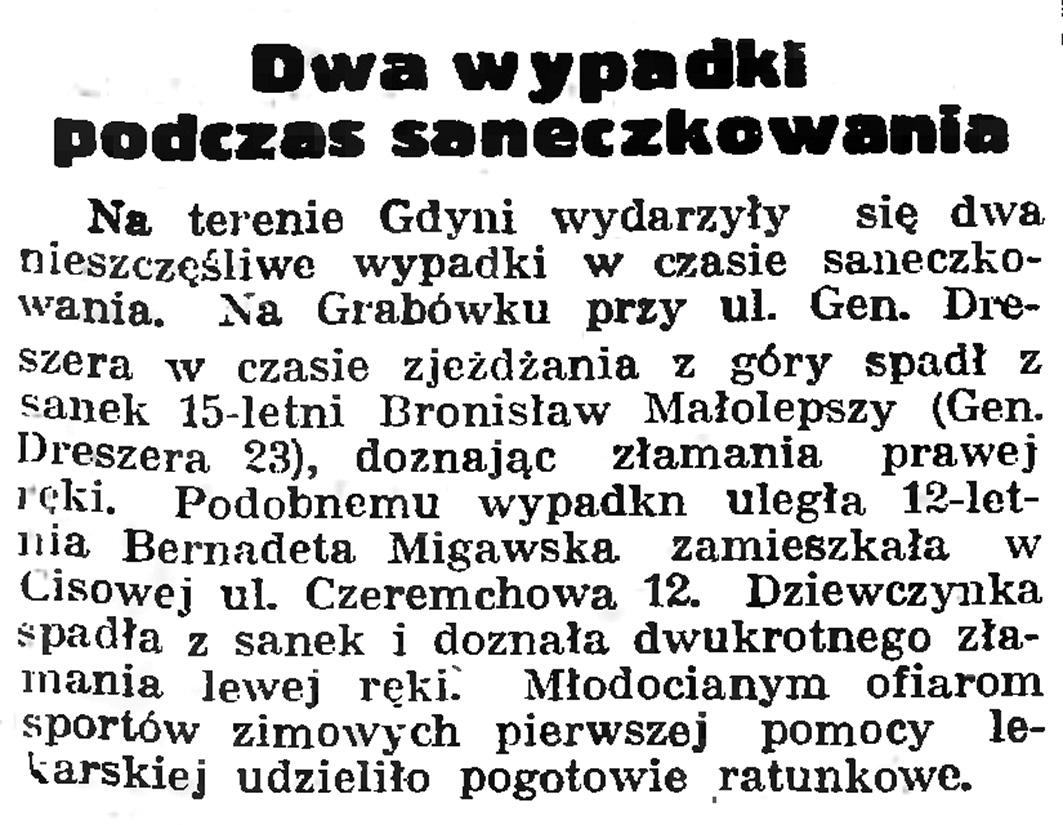 Dwa wypadki  podczas saneczkowania // Gazeta Gdańska. - 1939, nr 4, s. 7