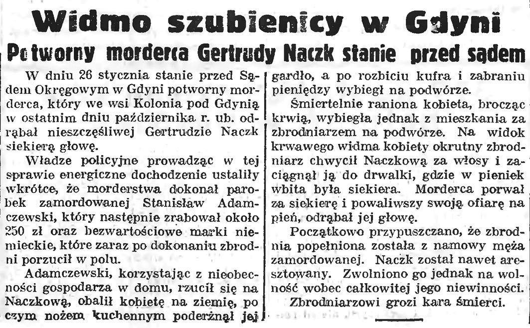 Widmo szubienicy w Gdyni. Potworny morderca Gertrudy Naczk stanie przed sadem // Gazeta Gdańska. - 1939, nr 5, s. 1