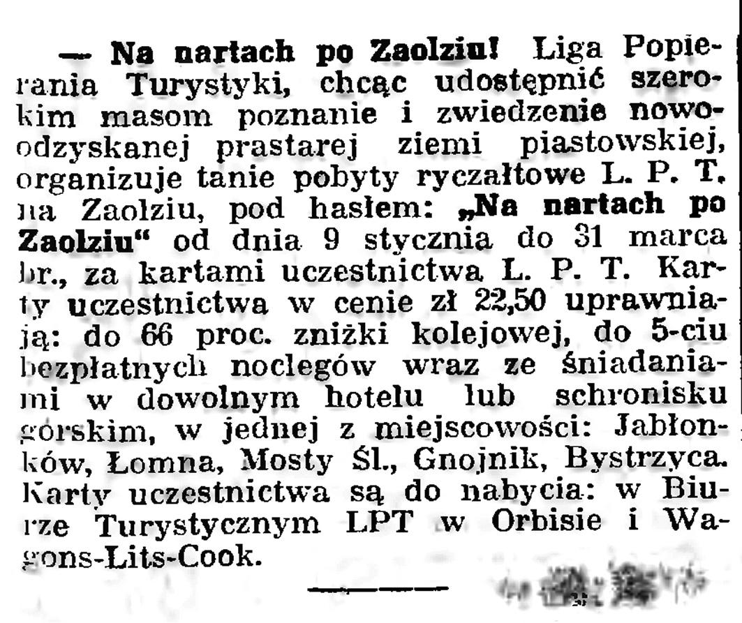 Na nartach po Zaolziu! // Gazeta Gdańska. - 1939, nr 5, s. 7