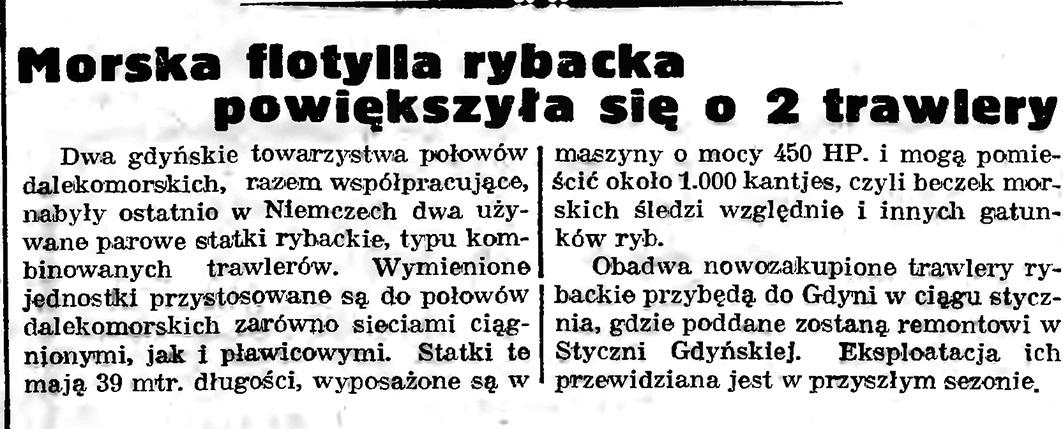 Morska flotylla rybacka powiększyła się o 2 trawlery // Gazeta Gdańska. - 1939, nr 5, s. 7