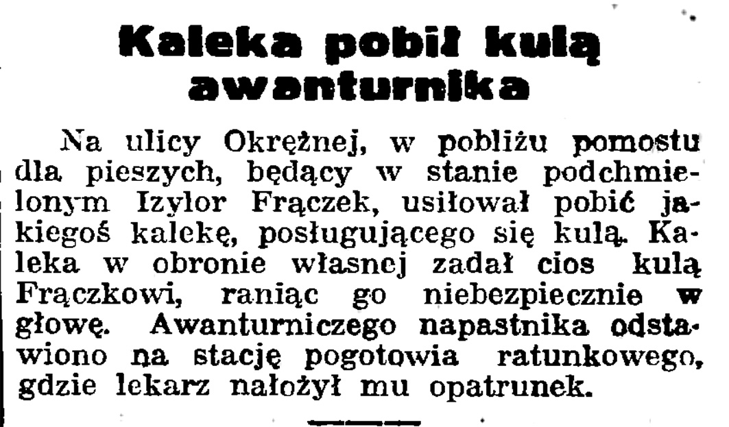 Kaleka pobił kulą awanturnika // Gazeta Gdańska. - 1939, nr 5, s. 7